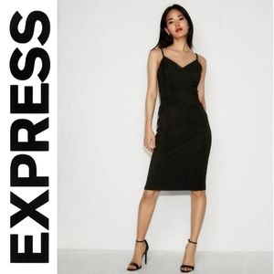 Express | Black Seamed Bodycon Bandage Ponte Dress